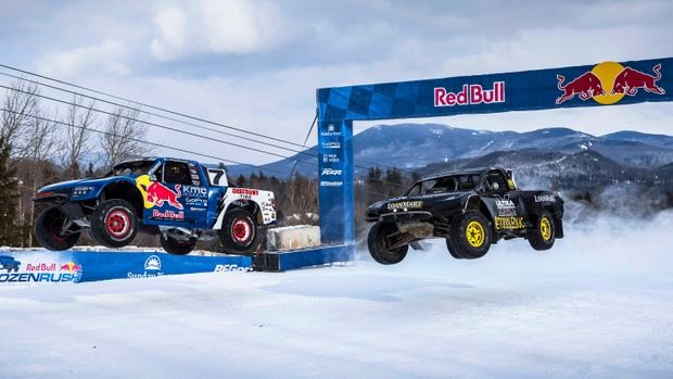 Red Bull's Newest Insane Extreme Sport – Racing Trucks Down The Side Of A Ski Mountain