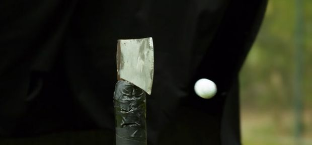 What Happens When You Drive a Golf Ball at an Axe? by How Ridiculous