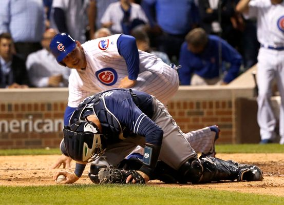 Anthony Rizzo Crashed Into The Padres Catcher and They Are Furious About It