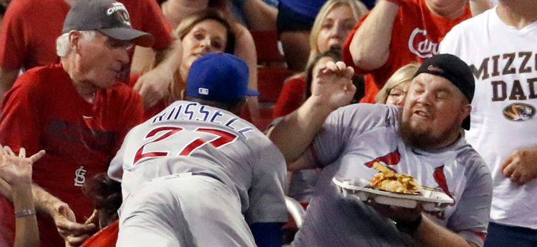 WATCH:Addison Russell Crashes Into Fan's Nachos, Graciously Replaces Them Next Inning