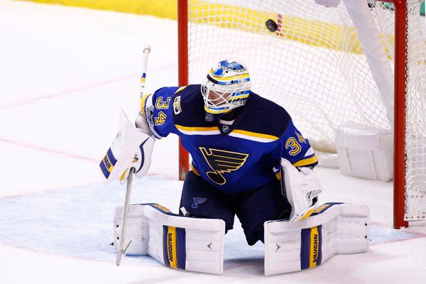 Watch: Brave And Helmet-Less Blues Goalie Allen Still Stops Shot