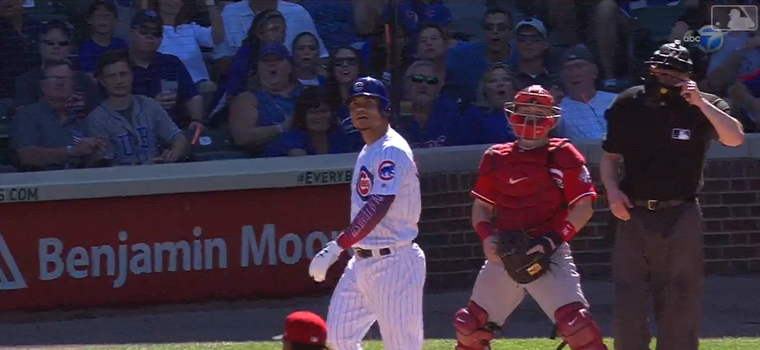 WATCH: Wilson Contreras Gives a Mighty Bat Flip, But Only Hits a Double