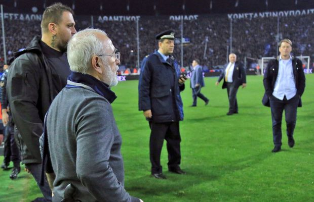 Greek Soccer Game Abandoned After PAOK President Storms The Field With a Gun